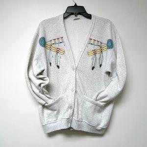W Activewear native america print cardigan US made